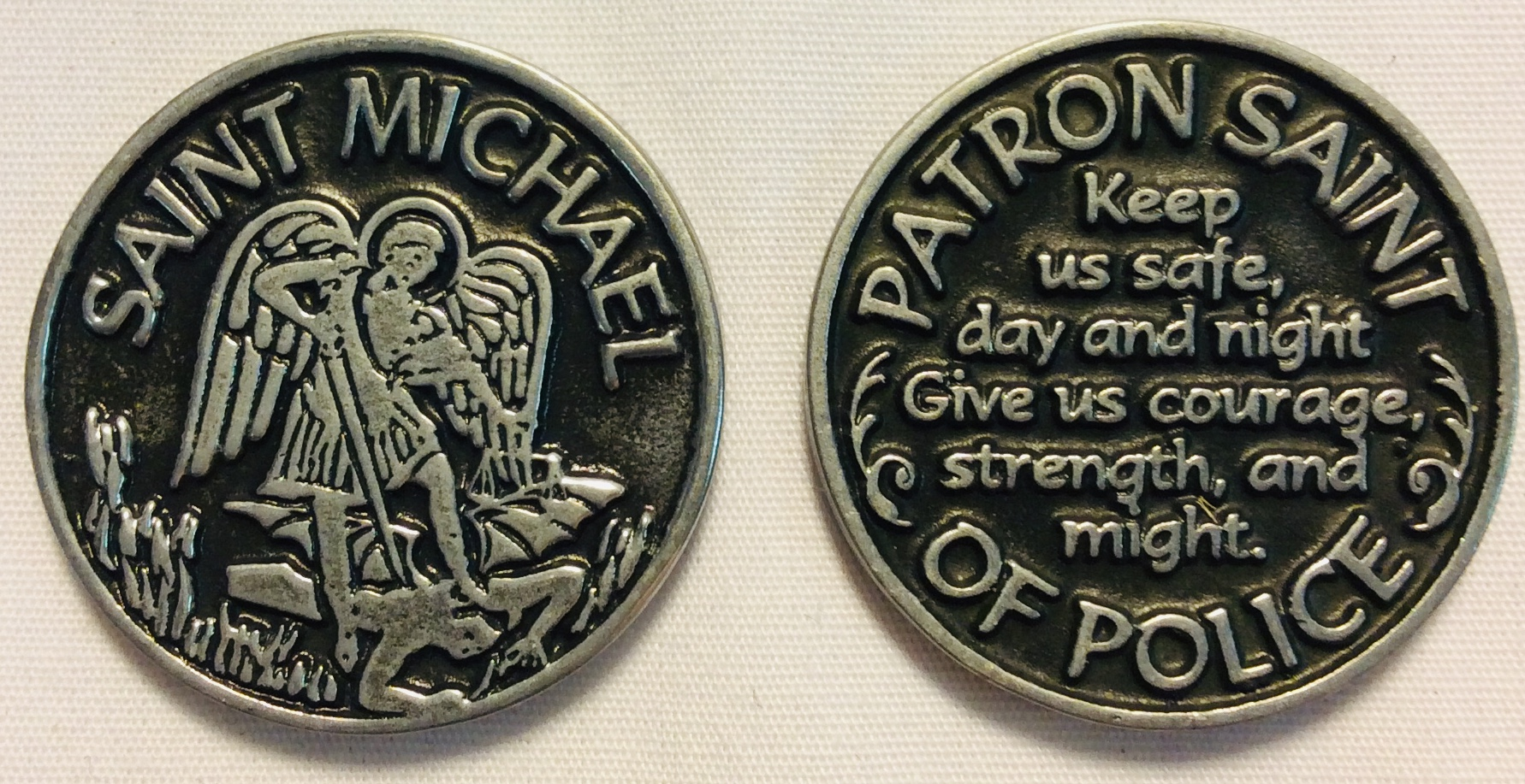 Large round double sided St. Michael