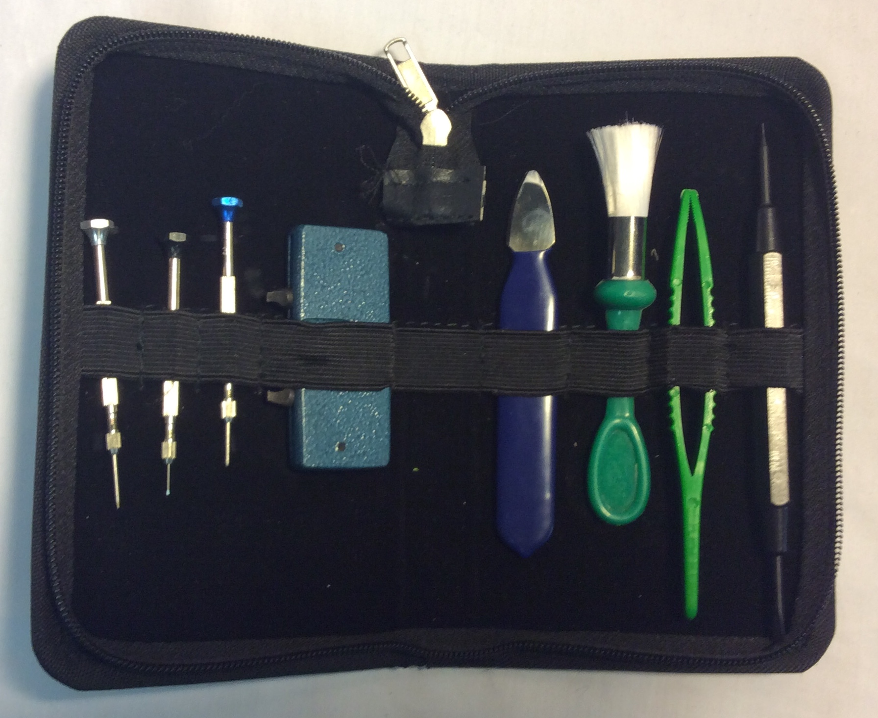 Black zippered watch repair kit