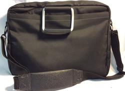 Black vynil laptop shoulder bag with metal handles