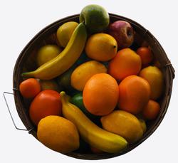 Plastic and foam fruit