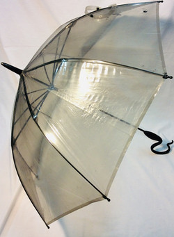 Grey plastic umbrella with hook handle