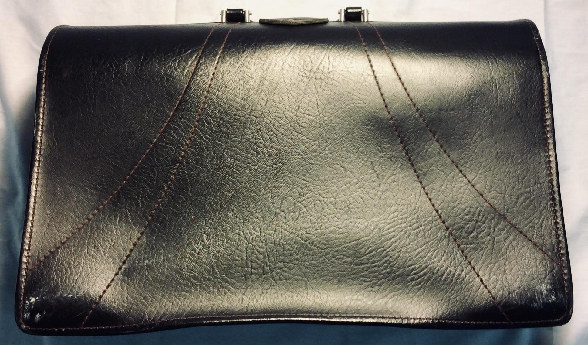 Dark brown leather brief case