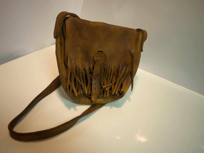 Light brown handmade leather bag