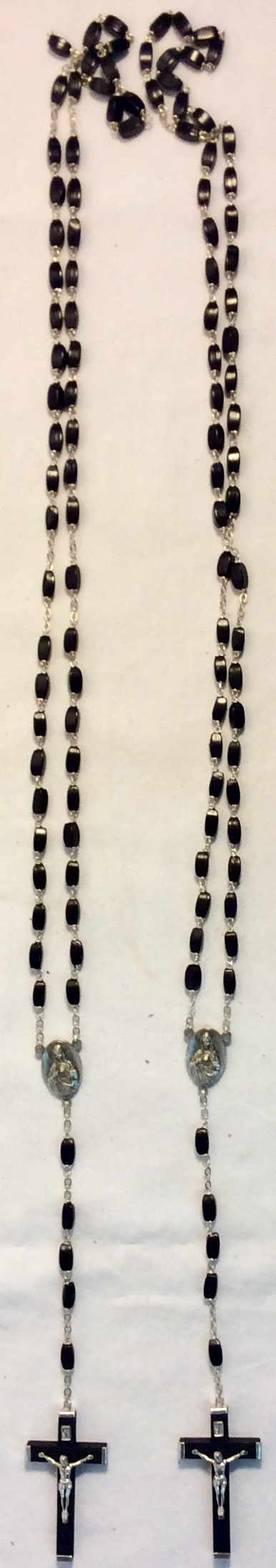 Black plastic and metal rosaries