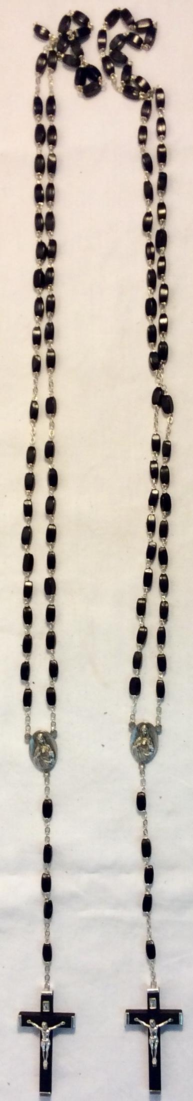 Black plastic and metal rosaries