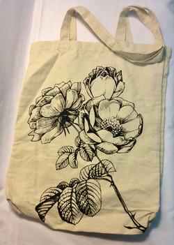 Beige tote bag with printed black