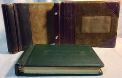 Vintage accountant books. x2 nobuk cover and x1 green leather cover