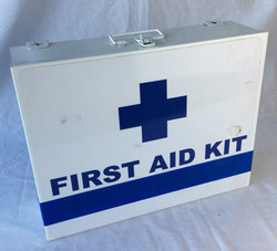 Large first aid kit, blue cross design.