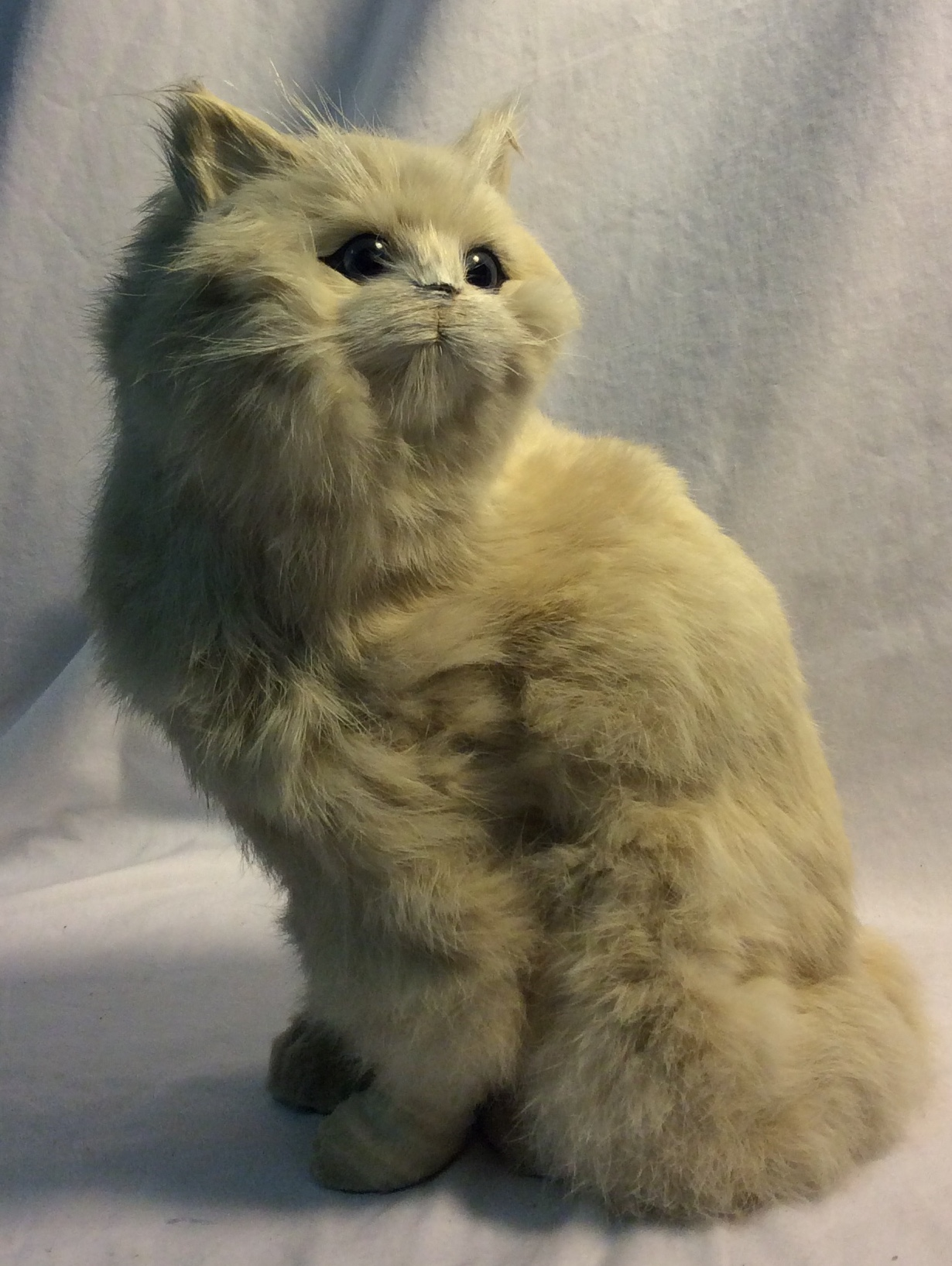 Realistic white cat with hard foam center