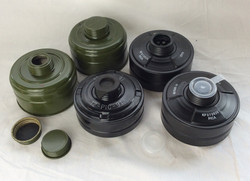 Various oxygen containers for full gas mask vintage/military 1940s. Green and black with lid options