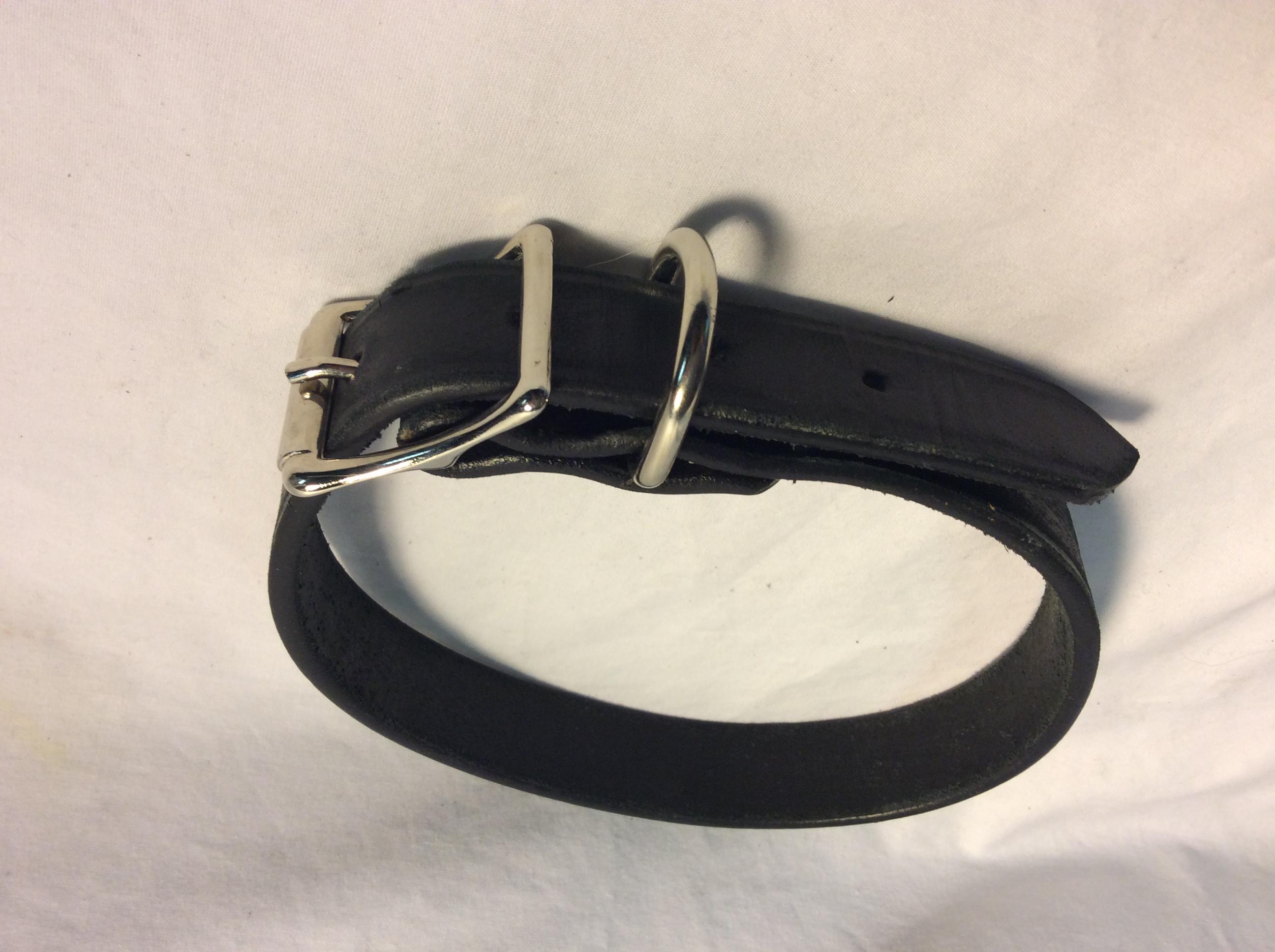 Dog collar leather basic