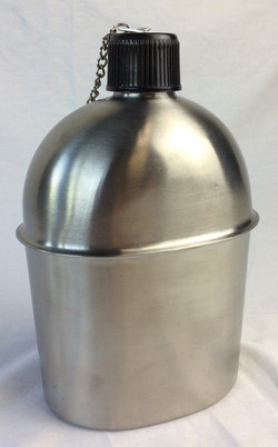 Silver canteen with chained on lid