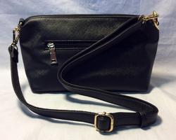 Black polyester purse w/ gold zipper