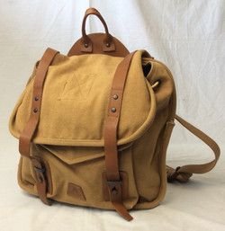 Beige retro-style backpack with leather straps