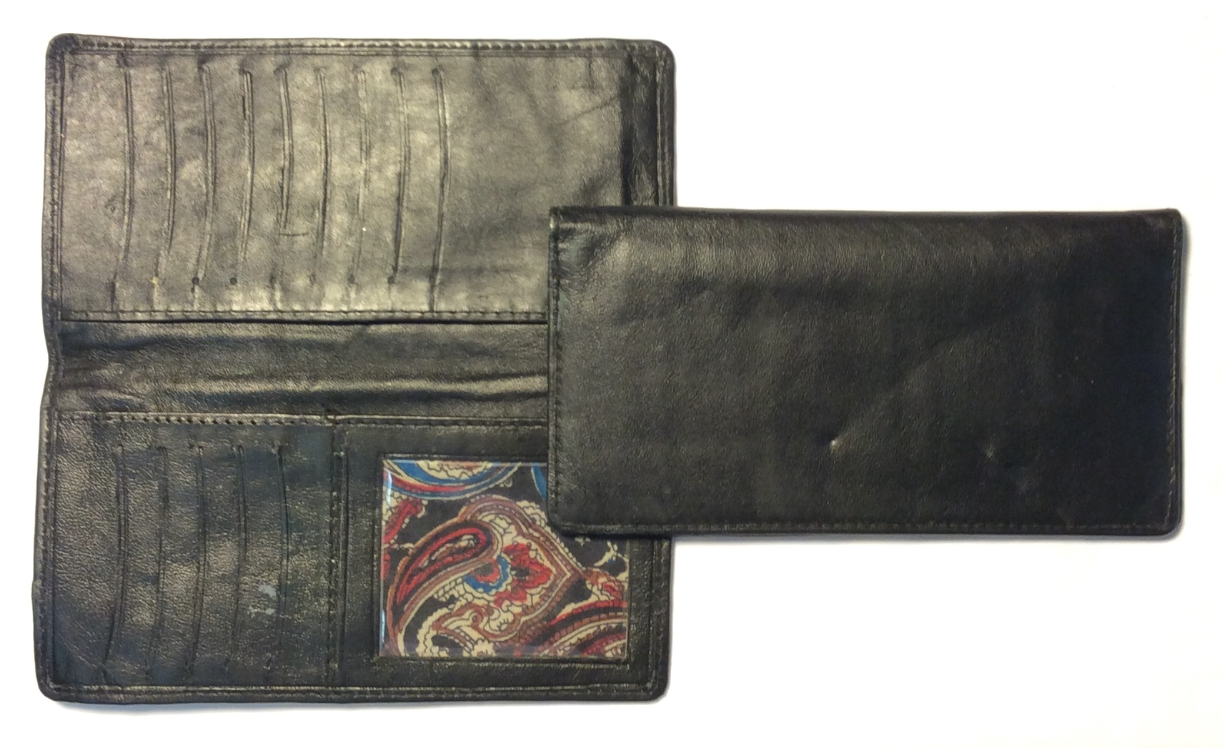 Black leather long bifold paisly