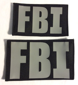 FBI Velcro Patches, Silver on Black
