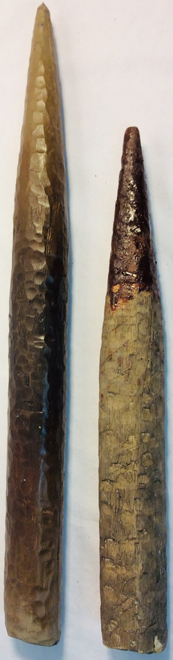 Thick wooden stakes with blood stains. (small and large) x7 wood x1 rubber
