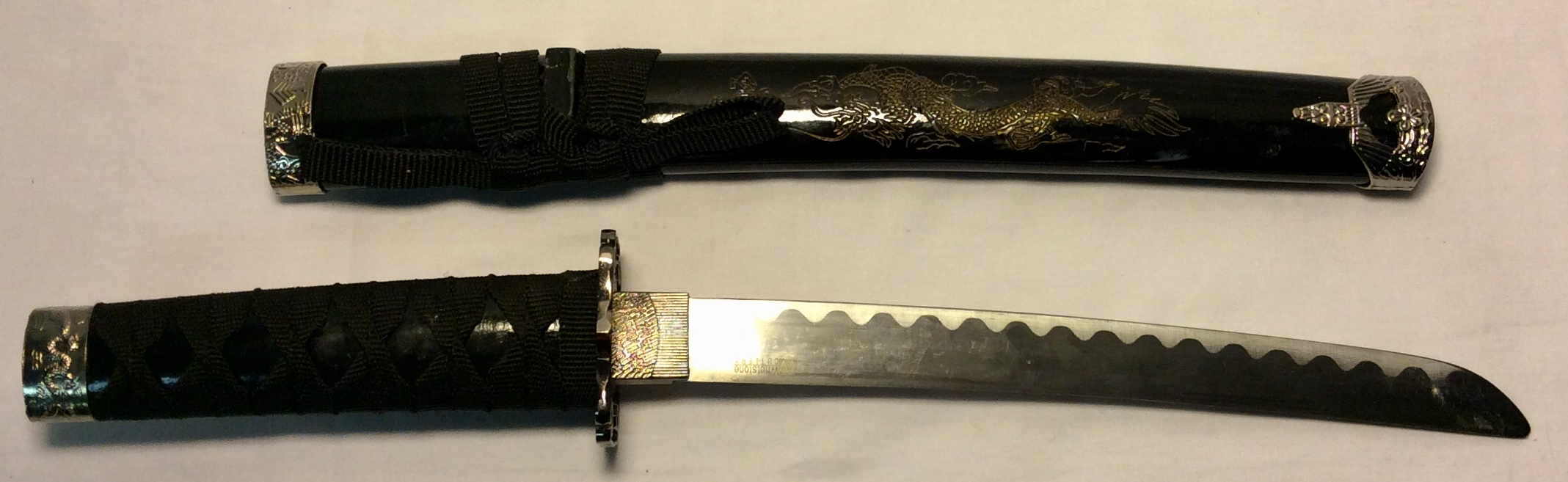 Tanto with chrome dragon tsuba