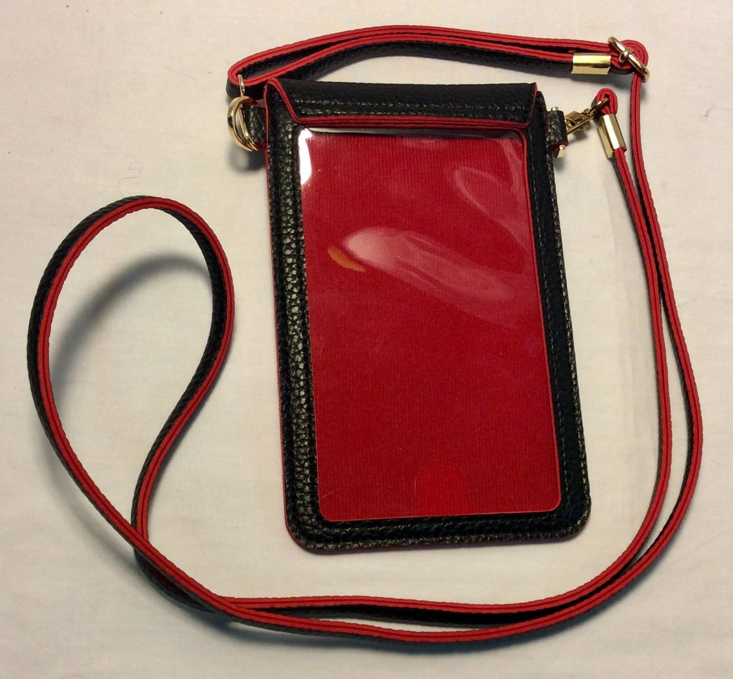 Black Leather Phone Purse