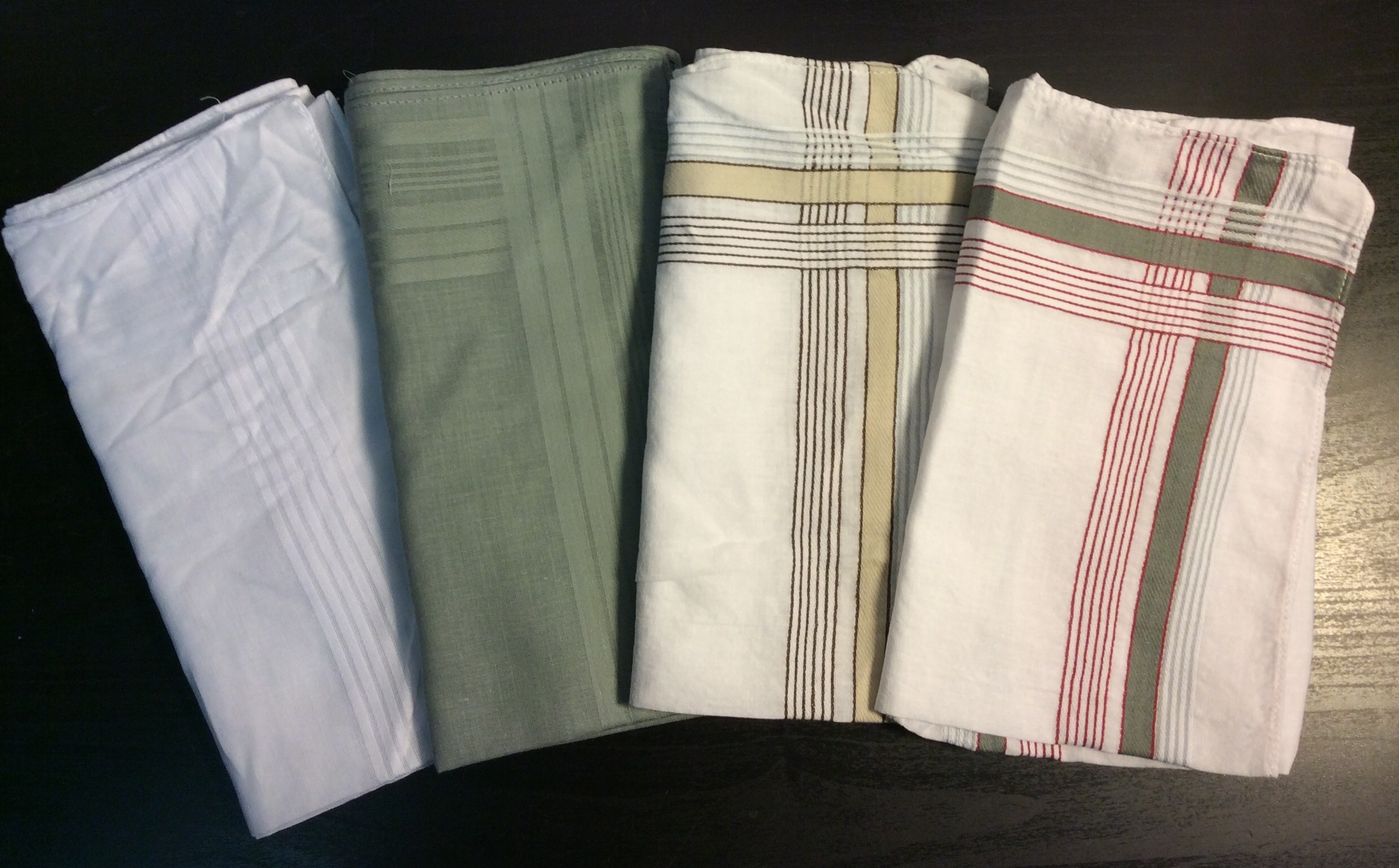 "Lightweight napkin or handkerchief 15""x15"" - x6 white, x6 grey, x7 yellow/brown stripe, x9 red/grey"