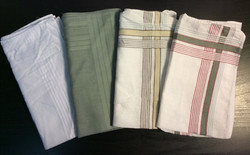 "Lightweight napkin or handkerchief 15""x15"" - x6 white, x6 grey, x7 yellow/brown stripe, x9 red/grey"