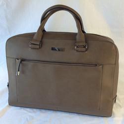 Brown leather handbag, plain.