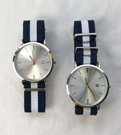 Joe Fresh clean interface date watches with blue and white band.
