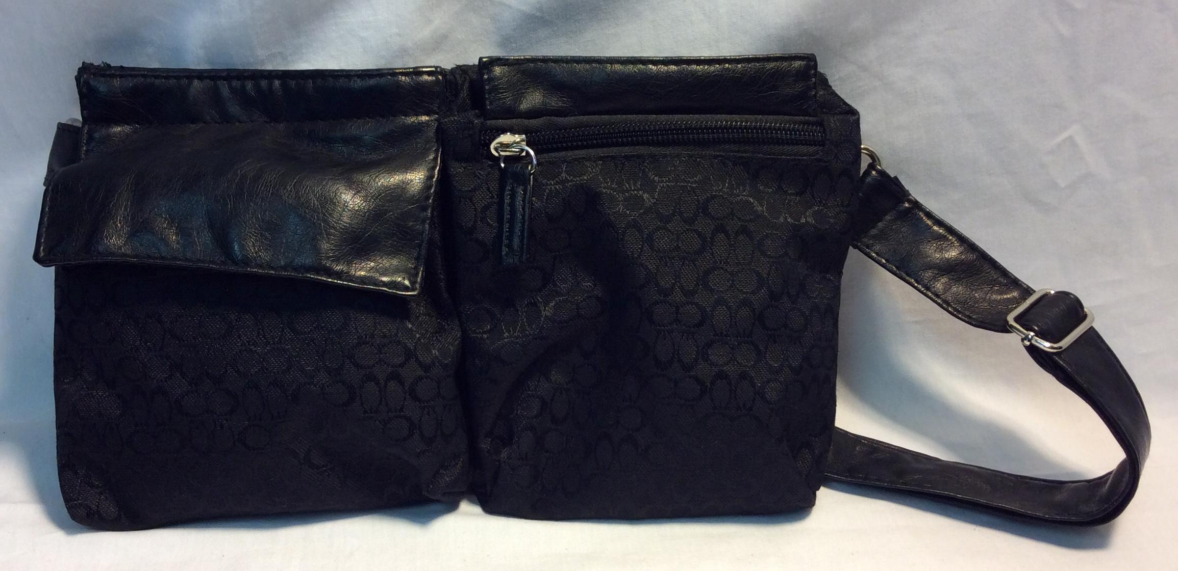 Black patterened fanny pack
