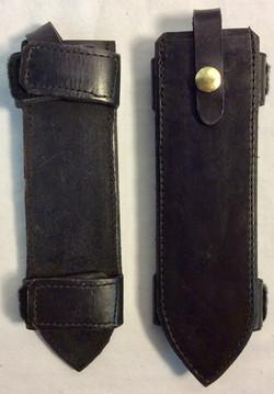 Black leather knife holster