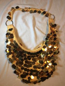 String Bag with Gold Circles