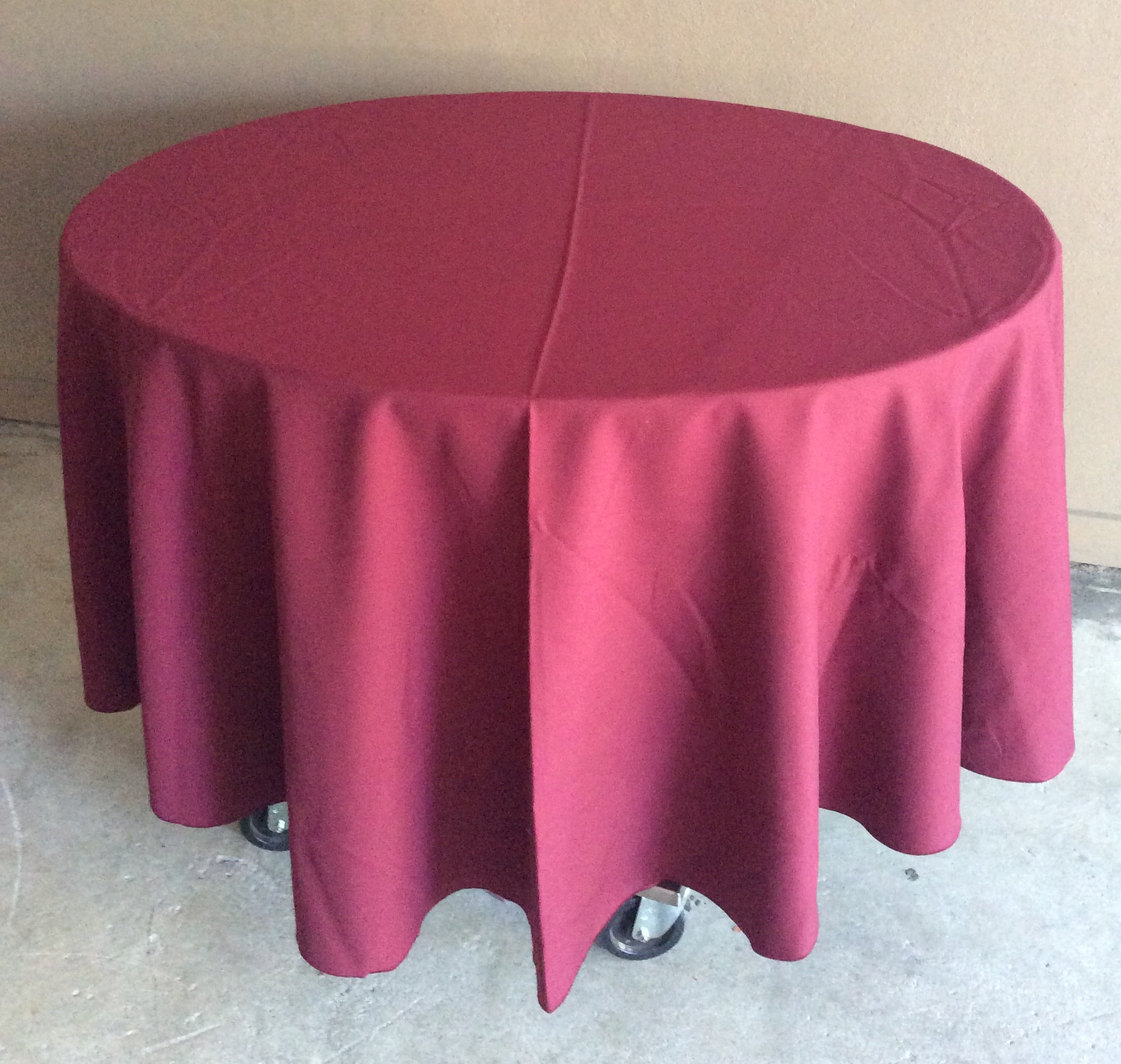 "90"" Diameter Table Cloths - burgundy"