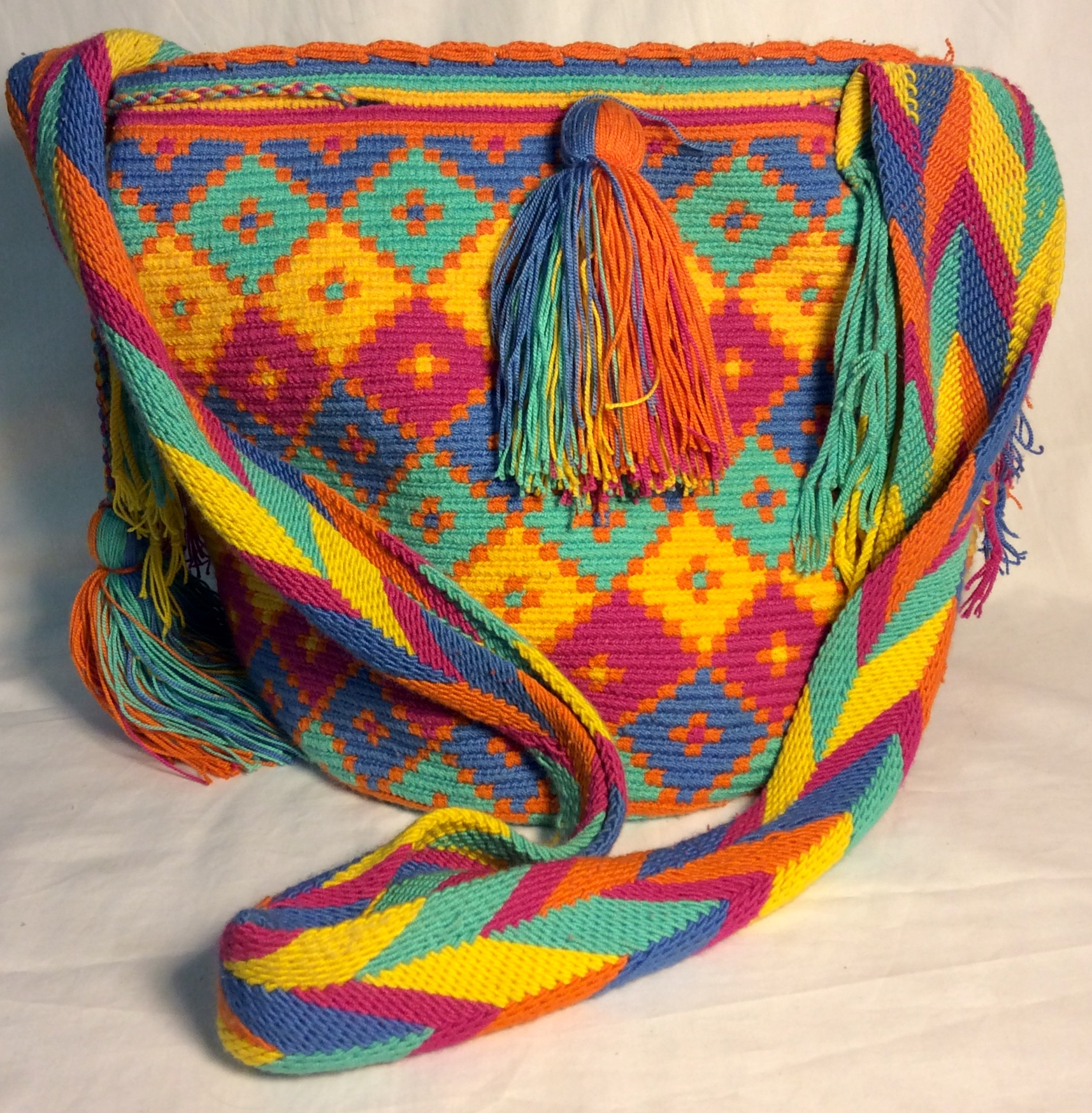 Multi coloured thick woven