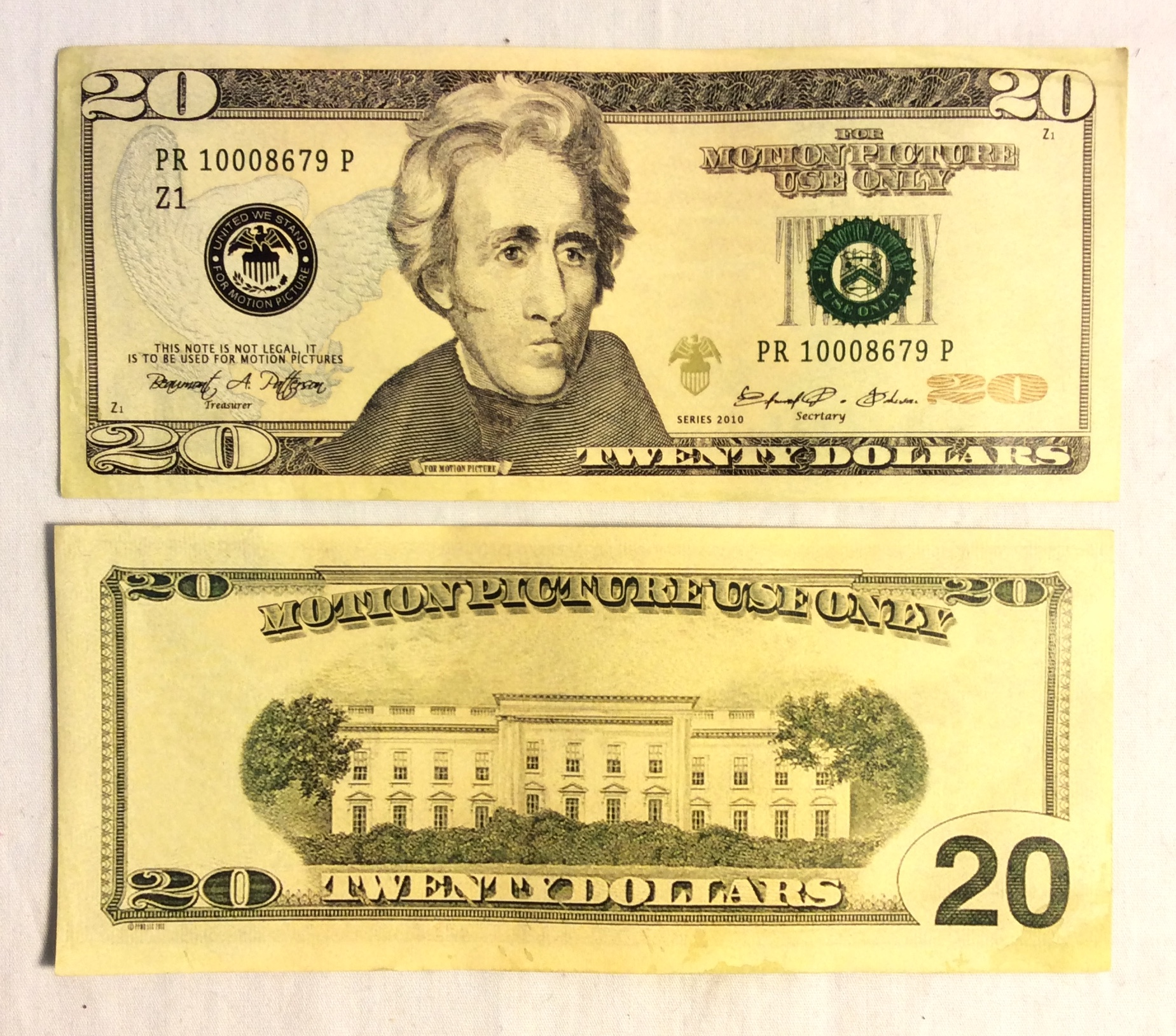 US $20 Bill, double-sided