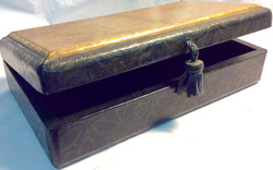 Black wooden box with golden design top