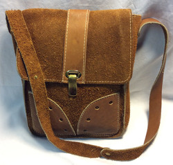 Rough brown leather bag