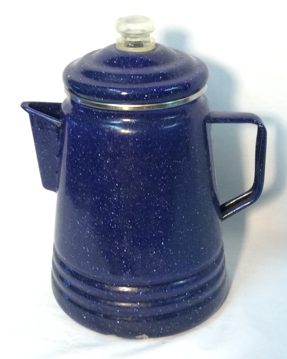 Speckled blue metal perculator