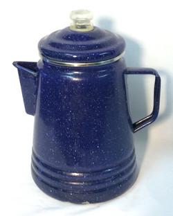 Speckled blue metal perculator
