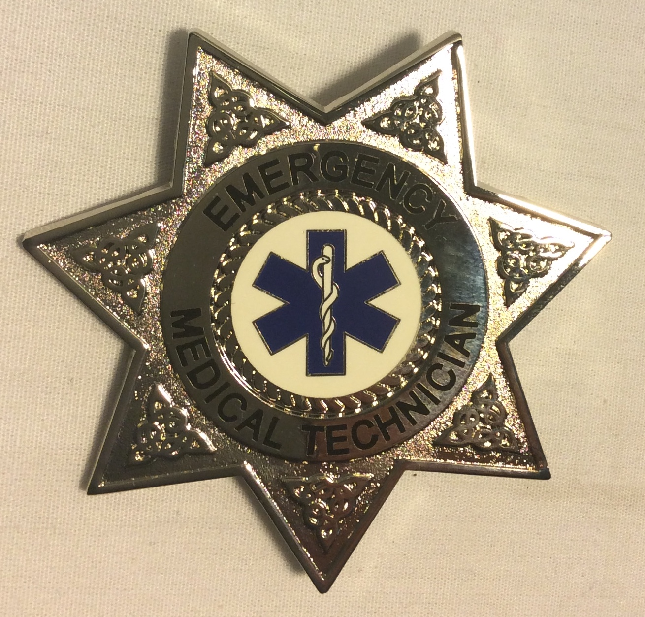 EMT Badge, silver 7 point star