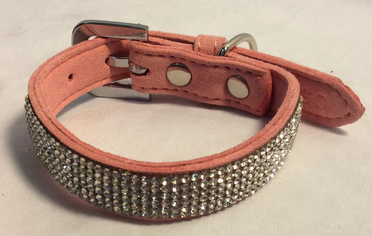 Dogo Dog collar pink leather with bling, for a small pet.