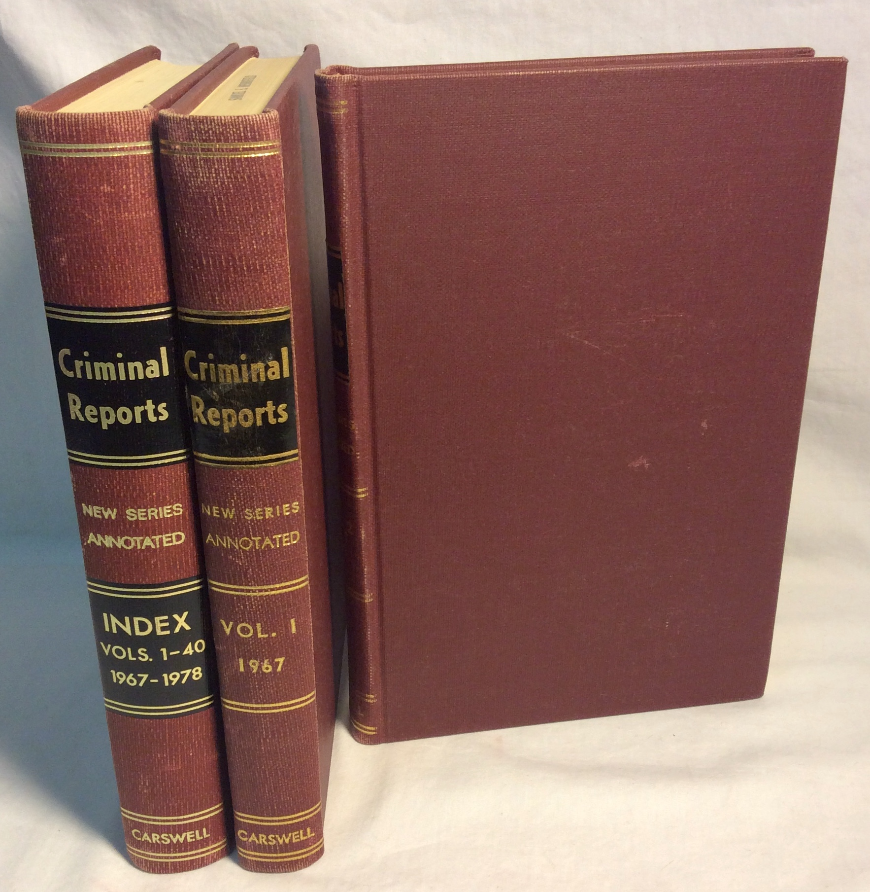 Set of red hardcover criminal report