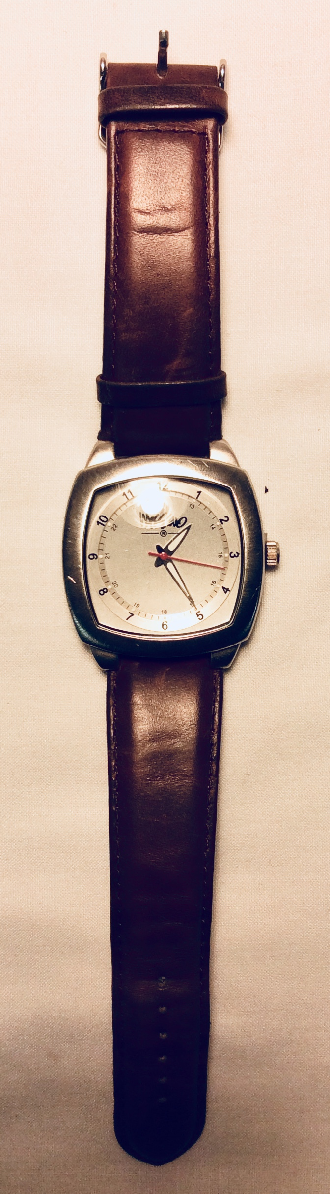 Steel with red second hand watch