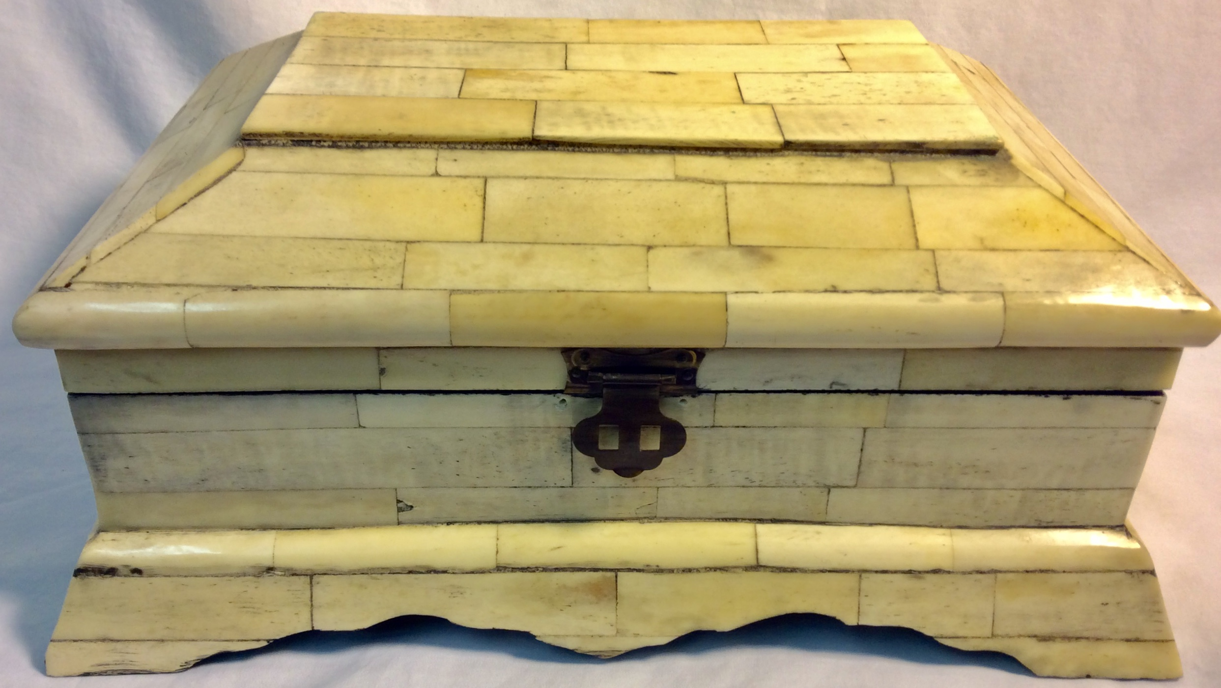Faux white stone wooden box