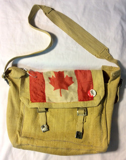 Yellow woven bag with Canadian flag