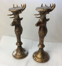 Antique looking elk candle holders. Some blood splattered. x5 rubber x1 real