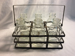 x6 glass bottles in metal carrying case - x2