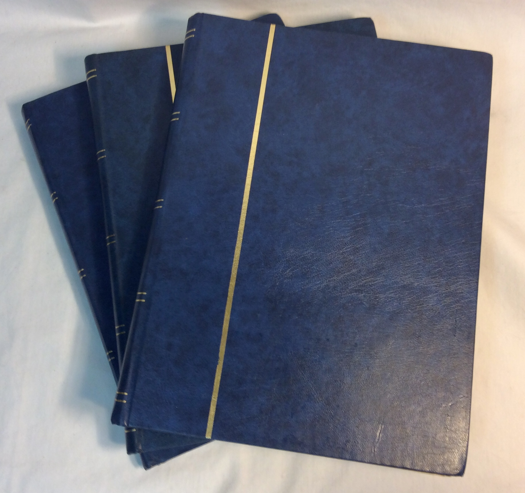 Large blue leather bound stamp