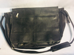Wilson leather Black leather laptop bag silver zipper on front