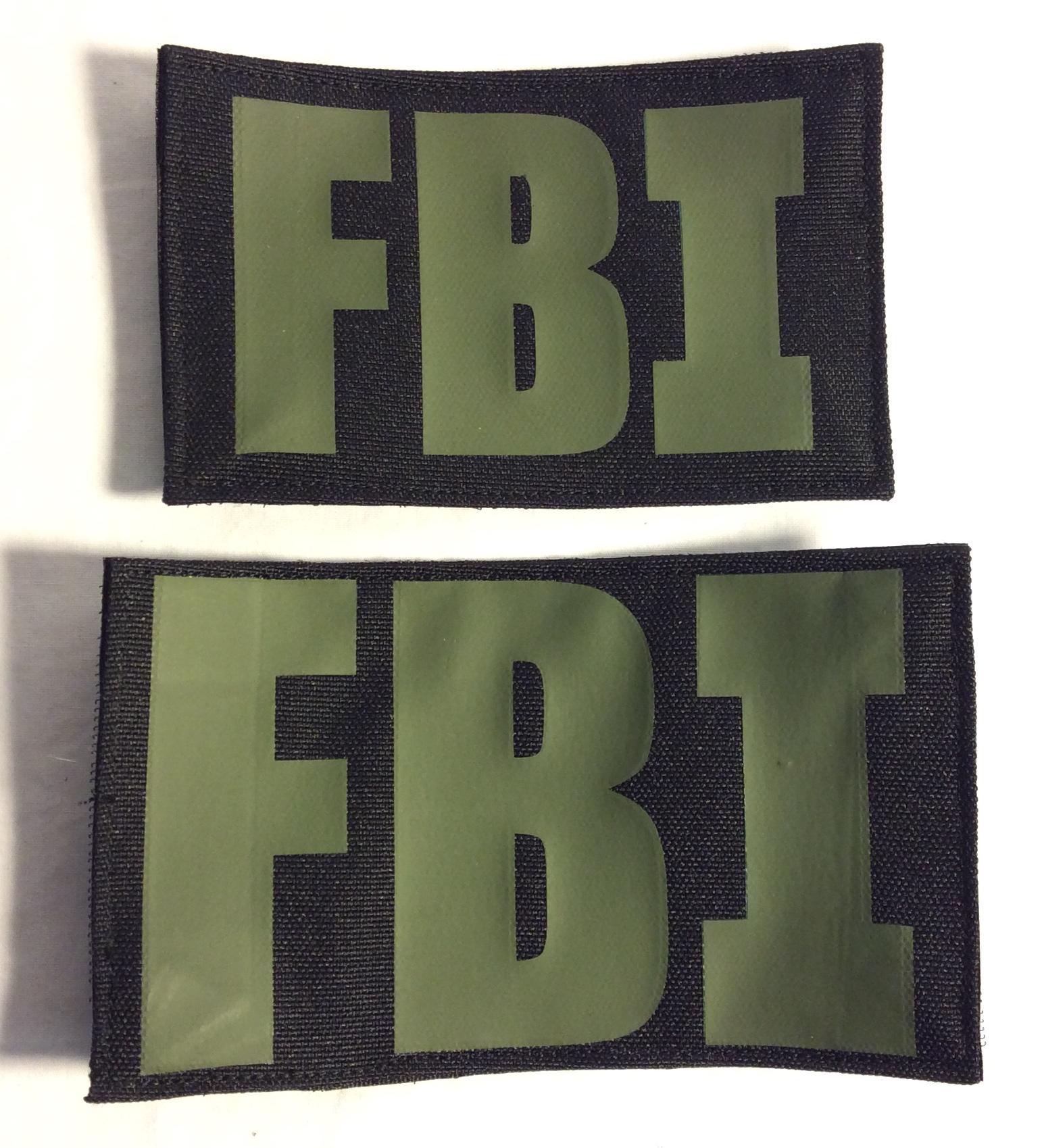 FBI Velcro Patches, Green on Black