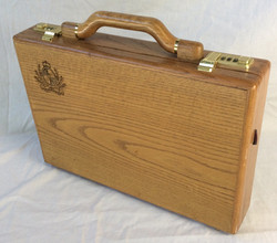 Wooden briefcase with Vancouver board logo