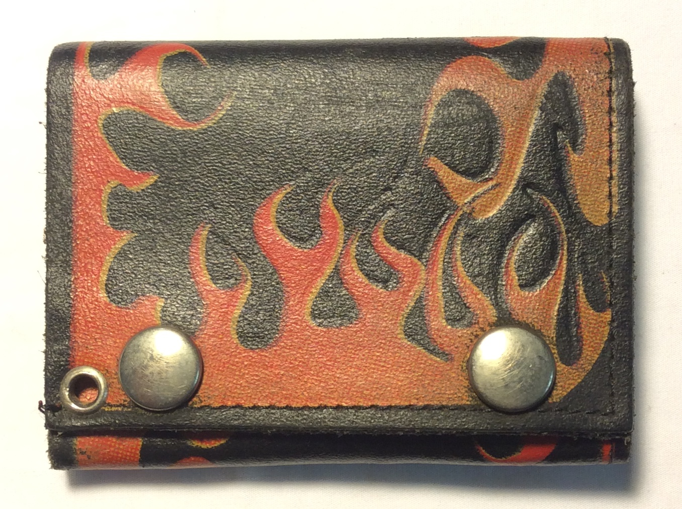 Black leather with red, orange
